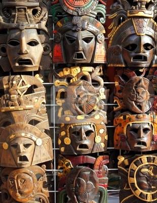 Masque en bois bois artisanal mexicain face