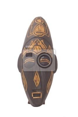 Masque en bois de Bali sur fond blanc