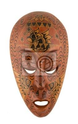 Masque en bois faits à la main à partir de l'Indonésie isolé sur fond blanc