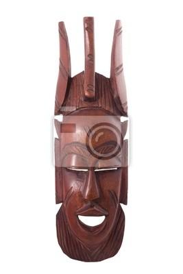 Masque en bois isolé sur blanc