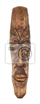 masque en bois traditionnel africain isolé sur blanc