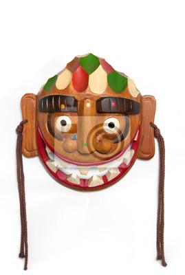 masque en bois traditionnel frontal