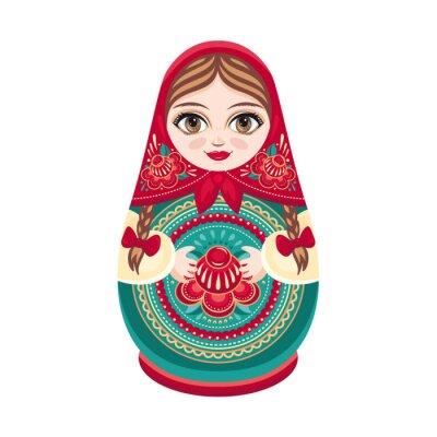 Papiers peints Matryoshka. Poupée en bois populaire russe. Poupée Babushka. Vector illustration sur fond blanc