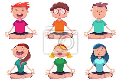 Meditation Des Jeunes Engages Dans Le Yoga Jeu De Caracteres Papier