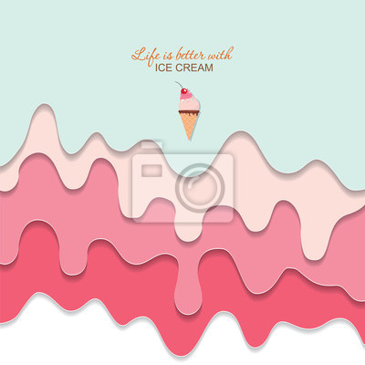 Papiers peints Melted flowing ice cream background. 3d paper cut out layers. Pastel pink and blue. Girly. For notebook cover, greeting card cute design. Vector
