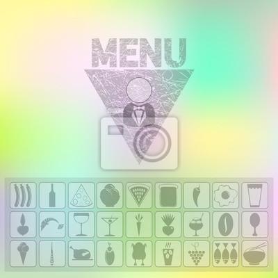 Menu d'icônes d'aliments biologiques. interface Web et la conception d'applications mobiles avec effet floue fond. Restaurants couvrent modèle de conception
