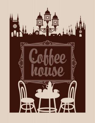 Papiers peints Menu pour café avec cadre et la vieille ville