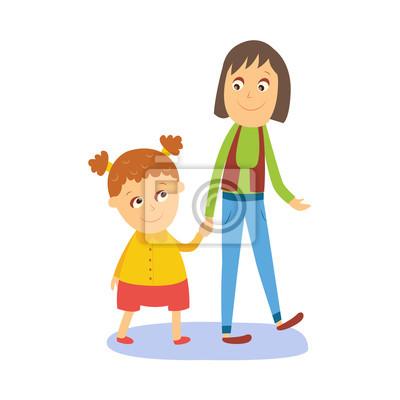 Papiers Peints Mère Et Fille Petite Fille Marchant Avec Sa Maman Main Dans