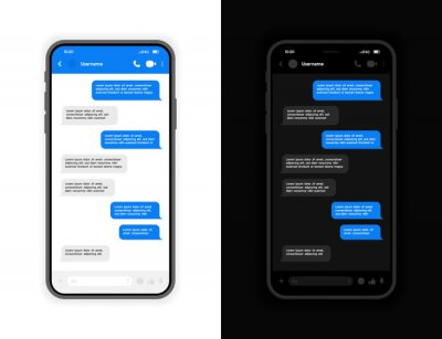 Papiers peints Messenger UI and UX design concept with light and dark mode interface. Smart Phone with messenger chat screen. Vector illustration