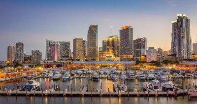 Papiers peints Miami toits de la ville panorama au crépuscule