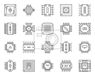 Papiers peints Micro chip cpu simple black line icons vector set