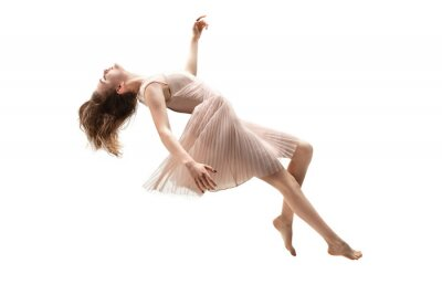 Papiers peints Mid-air beauty cought in moment. Full length shot of attractive young woman hovering in air and keeping eyes closed. Levitating in free falling, lack of gravity. Freedom, emotions, artwork concept.