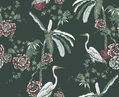 Papiers peints Midnight Chinoiserie Floral Seamless Pattern, White Cranes in Palms and Roses on Dark Background, Chinese Wallpaper Design Flower Plants Jungle Forest, Tropical Birds