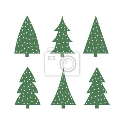 Mignon Arbre De Noel Vert Dans Licone De Neige Silhouette Jeu Papier