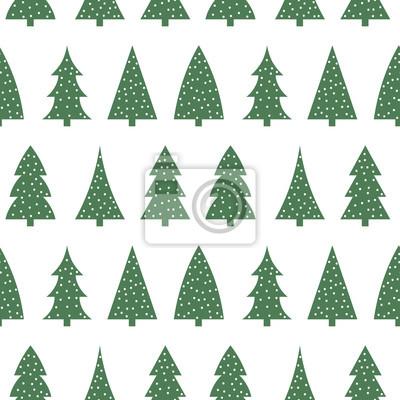 Mignon Arbre De Noel Vert Sur Fond Blanc Motif Sans Couture Papier