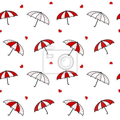 Papiers Peints Mignon Dessin Animé Noir Blanc Rouge Parapluie Seamless Vecteur