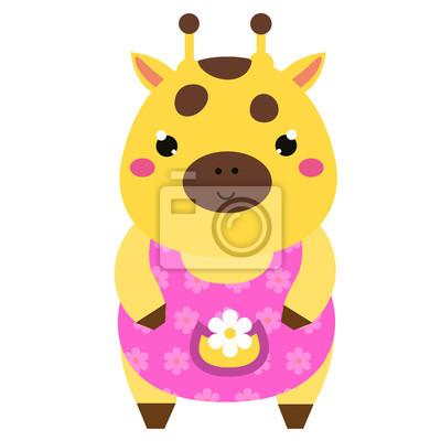 Mignon Girafe En Robe Rose Caractere Animal De Dessin Anime Papier