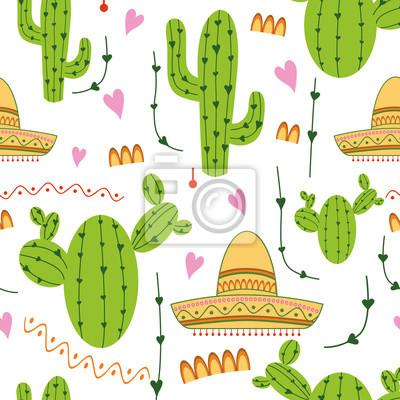 Mignon Modèle Sans Couture Mexicain Avec Cactus Sombrero Dans