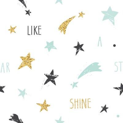 Papiers peints Mignon, rigolote, seamless, modèle, fond, à, main, dessiné, étoiles, inspiré, manuscrite, citation, briller, comme, a, étoile Paillettes, bleu pastel et étincelles noires isolé sur blanc.