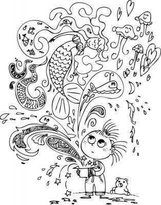 Papiers peints Mignonne petite fille ouvrant une boîte magique avec une sirène