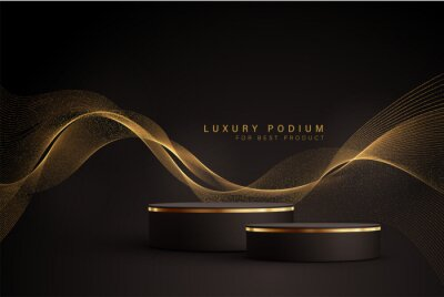 Papiers peints Minimal black scene with golden lines. Cylindrical gold and black podium on a black background. 3D stage for displaying a cosmetic product