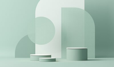 Papiers peints Minimal scene with podium and abstract background. Pastel blue and white colors scene. Trendy 3d render for social media banners, promotion, cosmetic product show. Geometric shapes interior.