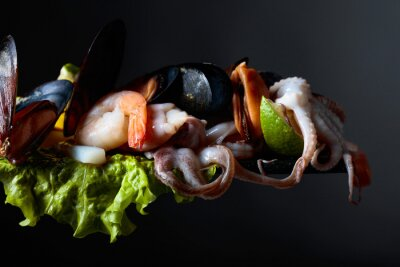Mixed delicious seafood.