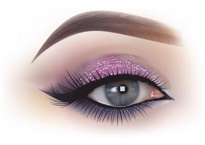 Papiers peints Mode femme oeil maquillage - illustration réaliste détaillée, vecteur