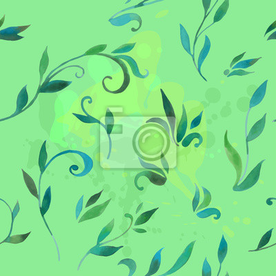 modèle avec des feuilles à l'aquarelle