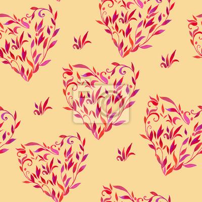 modèle avec des feuilles en forme de coeur