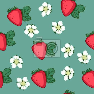 modèle avec des fraises et des fleurs