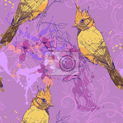 modèle avec des oiseaux, la jacinthe et taches de peinture