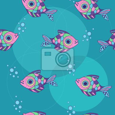 modèle avec des poissons d'ornement et des bulles