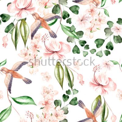 Papiers peints Modèle d'aquarelle avec des fleurs printanières, des feuilles d'eucalyptus et des oiseaux. Illustration