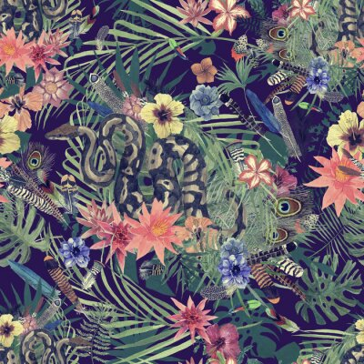 Papiers peints Modèle d'aquarelle dessiné main transparente avec boa, fleurs, plumes.