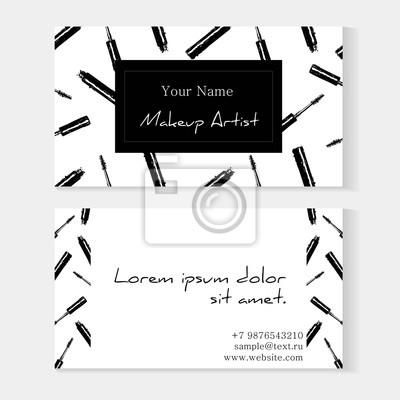 Papiers Peints Modele De Carte Visite Pour Le Maquilleur Vectoriel Avec Motif Sans