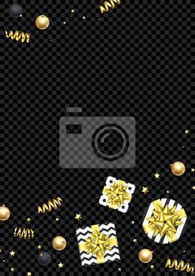 Modèle de carte de voeux de Noël backgorund de confettis de paillettes dorées, boîte-cadeau avec archet de ruban d'or. Vector Nouvel an hiver vacances festive scintillante étoile et balle pour la bann