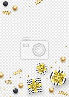 Modèle de carte de voeux de Noël backgorund de confettis de paillettes dorées, boîte-cadeau avec noeud de ruban d'or pour les vacances d'hiver de nouvel an. Étoile brillante festive de vecteur et ball