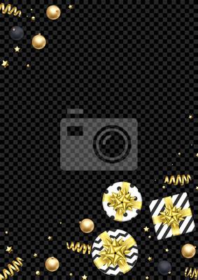 Modèle de conception de fond de carte de voeux de Noël d'or scintillant boule de décoration et des étoiles confettis. Cadeaux de vacances de Noël vecteur Noël ou nouvel an présente fond transparent no