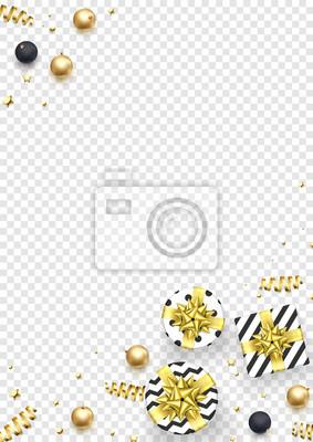 Modèle de conception de fond de carte de voeux de Noël d'or scintillant décoration étoiles et confettis de la boule. Cadeaux de vacances de Noël vecteur Noël ou nouvel an présente fond transparent bla