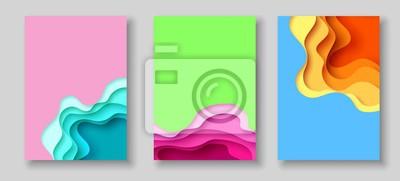 Papiers peints Modèle de couverture ou de flyer avec du papier abstraite coupe bleu vert jaune fond jaune. Modèle vectoriel en sculpture de style artistique