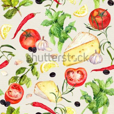 Papiers peints Modèle de cuisine avec du fromage, la tomate, l'ail, les épices et les herbes. Répéter le fond de cuisson. aquarelles