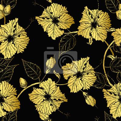 Papiers Peints Modèle De Fleurs Dhibiscus à Dessin à La Main Lart Du Tatouage