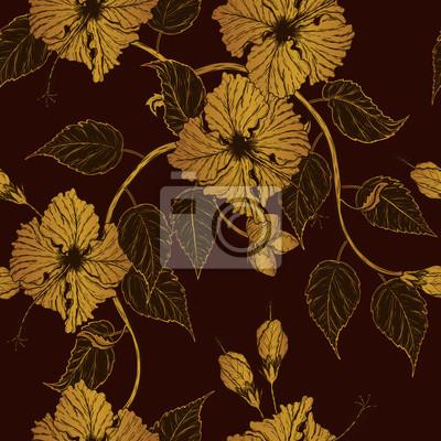 Modele De Fleurs Dhibiscus A Dessin A La Main Lart Du Tatouage