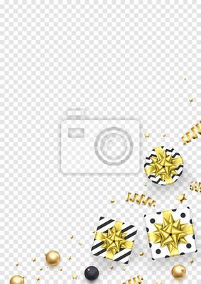 Modèle de fond de carte de voeux de Noël ou du nouvel an de décorations de boule d'or. Cadeaux de Noël de vecteur avec noeud de ruban d'or et confettis de paillettes d'or sur l'ornement de boîtes-cade