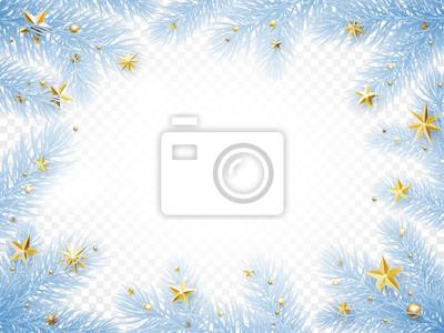 Modèle de fond de carte de voeux de Noël vacances du cadre de guirlande de branche de sapin de nouvel an avec des confettis de givre et d'étoiles dorées. Conception de décoration de vecteur de Noël ou