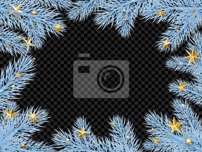 Modèle de fond de carte de voeux de Noël vacances du cadre de guirlande de branche de sapin de nouvel an avec des confettis de givre et d'étoiles dorées. Vector Design de décoration de Noël ou du nouv