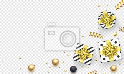 Modèle de fond de carte de voeux de nouvel an ou de Noël de ruban cadeau or ou confettis étoile scintillante or sur prime blanc transparent. Vecteur Noël hiver vacances décoration vente bannière