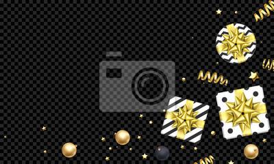 Modèle de fond de carte de voeux de nouvel an ou de Noël de ruban cadeau or ou or scintillant étoiles confettis sur premium noir transparent. Vecteur Noël hiver vacances décoration vente bannière