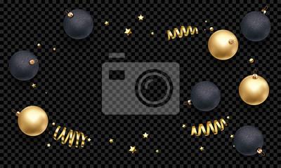 Modèle de fond de carte de voeux de nouvel an ou Noël de boule d'or en ruban cadeau ou or scintillant étoiles confettis sur prime noir transparent. Bannière de décoration de Noël vecteur hiver vacance